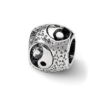 925 Sterling Silver Gepolijste afwerking Reflecties SimStars Yin Yang Bead Charm Hanger Ketting Sieraden Geschenken voor vrouwen