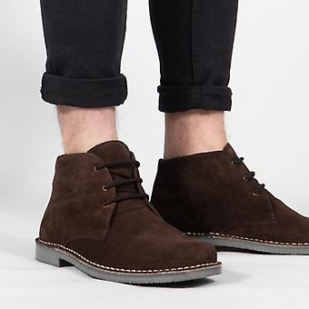 Roamers Leonard Mens Square Toe Suede Leather Desert Boots Brown
