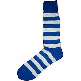 Bassin ja ruskea hooped Stripe-sukat-Royal Blue/White