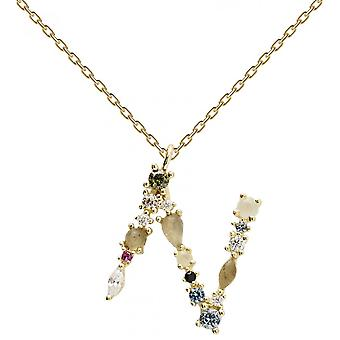 PD Paola CO01-109-U necklace and pendant - I AM in gold silver with natural stones and semi-precious Women