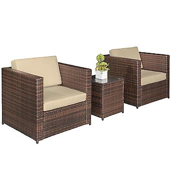 Outsunny 3 pcs PE Rattan Wicker Garden Furniture Patio Bistro Set Weave Conservatory Sofa Table and Chairs Set Brown