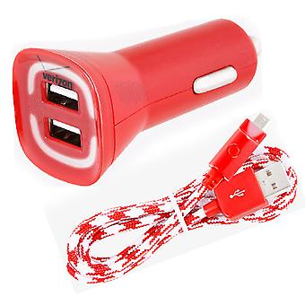 Verizon Car Charger With Braided Micro USB Cable for micro usb devices - Red