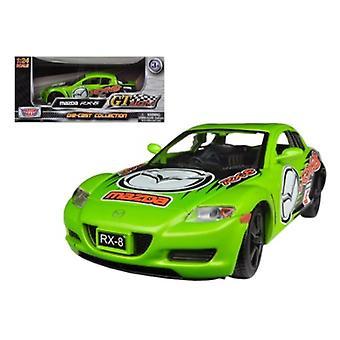 Mazda Rx-8 green #5 Gt Racing 1/24 Diecast Car Modelo por Motormax