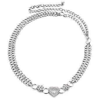 40 tums Silver Diamante kedja med hjärta spänne och blommor design midja kedje bälte