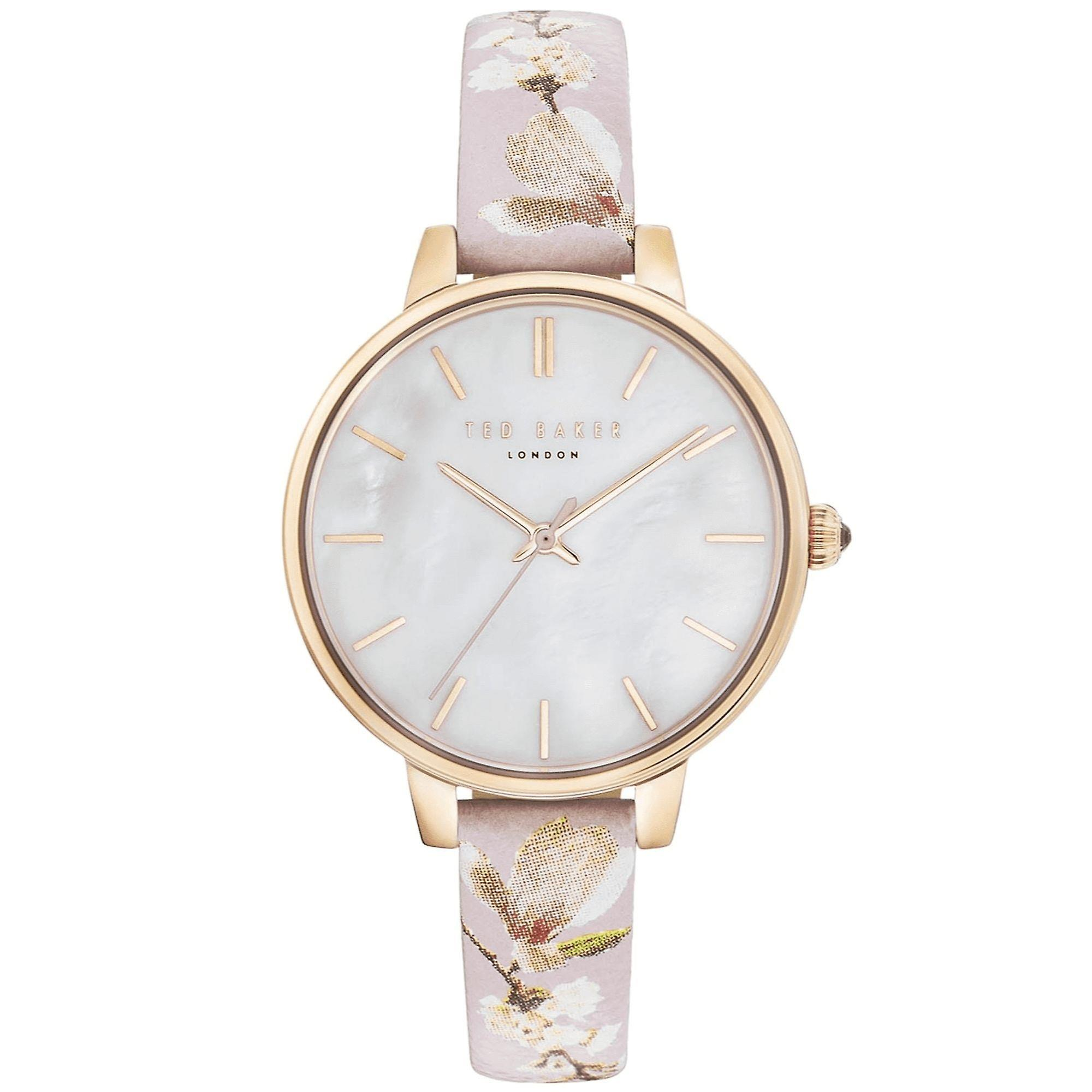 Ted Baker Kate Quartz Silver Dial Pink Floral Leather Strap Ladies Watch TE50005017