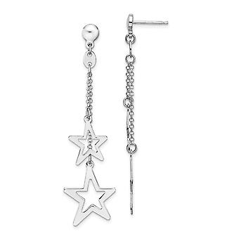 4mm 925 Sterling Silver Rhodium plated Stars Dangle Post Earrings Jewelry Gifts for Women