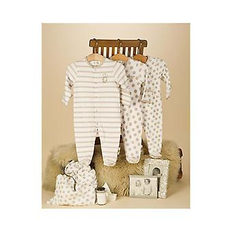 The Essential One Baby Unisex Neutral Spotty Star Sleepsuits - 3 Pack