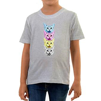Reality glitch cmyk cat kids t-shirt