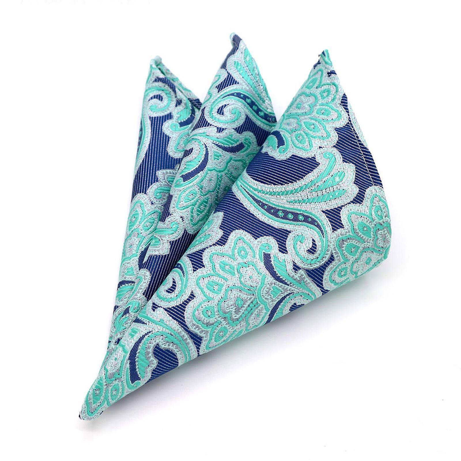 Mint green & purple paisley pattern men's pocket square