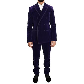 Dolce & Gabbana Purple Velvet Slim Fit Double Breasted Suit With Contrast Edging