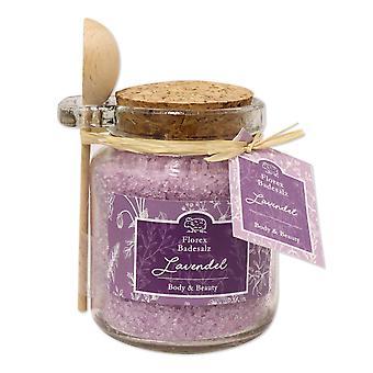 Florex Bath Salts Bath Additive Lavender in Decorative Glass Florentine with Wooden Spoon 300 g