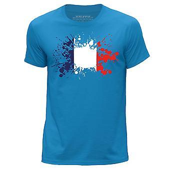 STUFF4 Men's Round Neck T-Shirt/France/French Flag/Blue