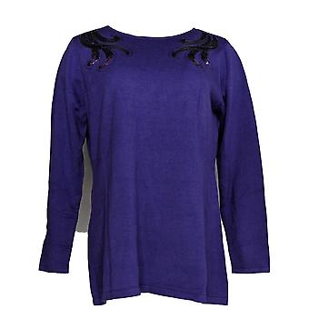 Bob Mackie Womens Sweater Boat Neck Pullover W/Sequin Detail Purple A296424