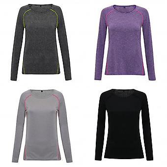 TriDri Womens/Ladies Laser Cut Scooped Long Sleeve Top