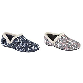 Sleepers Womens/Ladies Karen Knitted Patterned V Sided Slippers