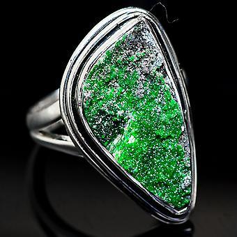 Uvarovite Garnet Ring Size 6.5 (925 Sterling Silver)  - Handmade Boho Vintage Jewelry RING3722