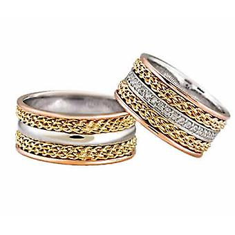 Tricolor wedding rings with tors rings