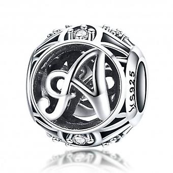 Sterling Silver Alphabet Charm With Zirconia Stones Letter A - 5752