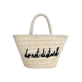 Fable Womens/Ladies Embroidered Do Not Disturb Straw Shopper
