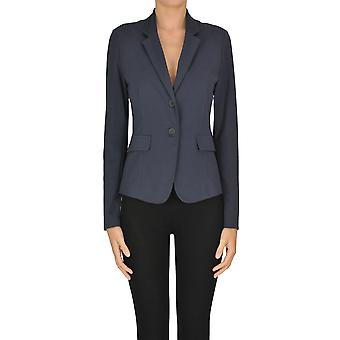 Fabiana Filippi Ezgl031071 Feminino's Blue Cotton Blazer