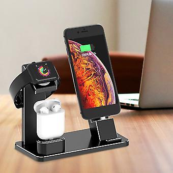 3 In 1 Aluminiumlegierung Ladestation Telefonhalter Uhrhalter für Iphone Apple Watch Apple Airpods