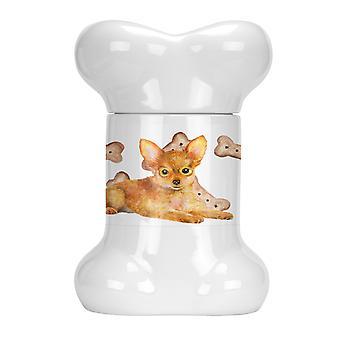 Carolines Treasures  CK2301BSTJ Toy Terrier Bone Shaped Treat Jar