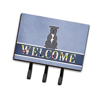 Staffordshire Bull Terrier blau Willkommen Leine oder Schlüsselanhänger