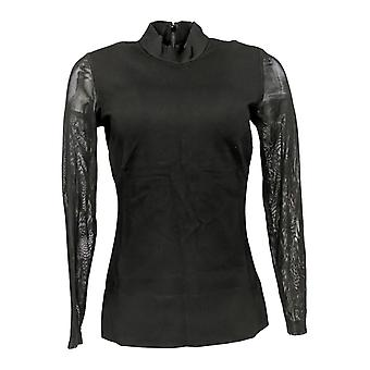 G.I.L.I. got it love it Women's Top Milano Ponte Mock Neck Black A268582 #1