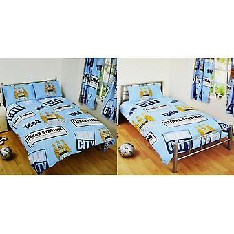 Manchester City FC Official Patch Football Crest Duvet Cover Bedding Set