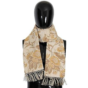 Dolce & Gabbana Beige Gold Jacquard Cotton Scarf -- MS16177584