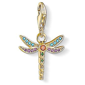 Thomas Sabo Multi Coloured Yellow Gold Dragonfly Charm
