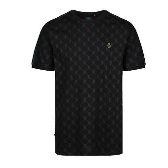 Luke | Top Irons M500151 Overprint Tape Half Sleeve T-shirt - Black