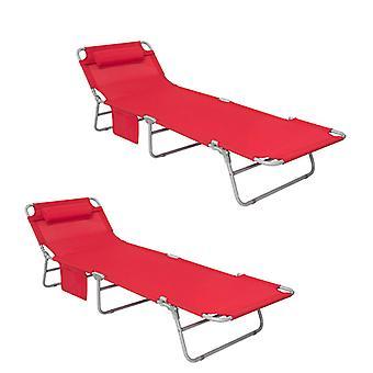 SoBuy Set di 2 schienale regolabile Outdoor Campeggio reclinabile sedia rosso OGS35-Rx2