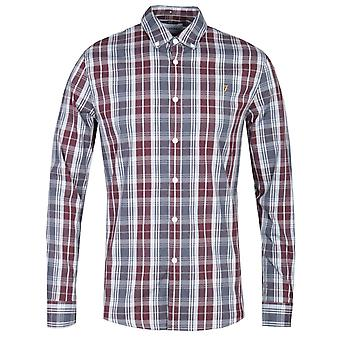 Farah Brewer Tartan Check Burgundy & Grey Slim Fit Shirt
