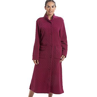 Camille Red blød Fleece Floral fuld længde knap op Housecoat
