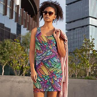 Slim Fit Dress | Colorful Feathers