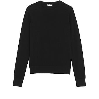 Saint Laurent 6030899021000 Men's Black Cashmere Sweater