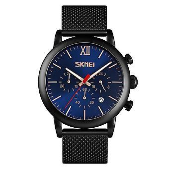 Skmei Mens Blue Chronograph Quartz Watch Mesh Metal Strap Date Display SK9023GRN