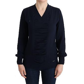 Costume National Blue V-Neck Wool Blend Sweater