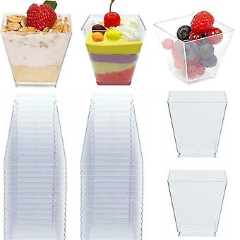 50pcs Transparent Disposable Trapezoidal Plastic Cups