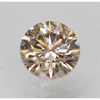 Cert 0.72 Ct Fancy Brown VS2 Round Brilliant Enhanced Natural Diamond 5.66mm 3EX