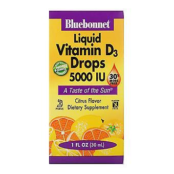 Bluebonnet Nutrition, Gouttes de vitamine D3 liquide, Saveur naturelle d'agrumes, 5 000 UI,