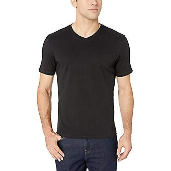 Essentials Men's 2-Pack Slim-Fit V-Ausschnitt T-Shirt, schwarz, groß