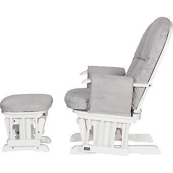 Tutti Bambini Reclining Glider Chair with Stool Grey Cushions