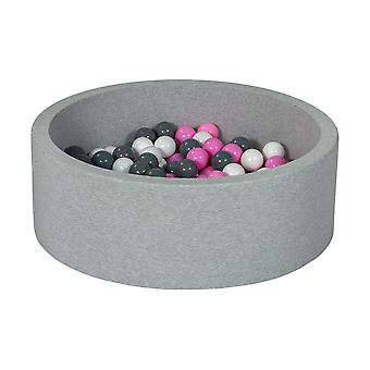 Ball pit 90 cm with 200 balls white, light purple & grey