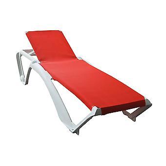 Resol Marina Garden Sun Lounger Bed - Adjustable Reclining Outdoor Summer Furniture - White, Red