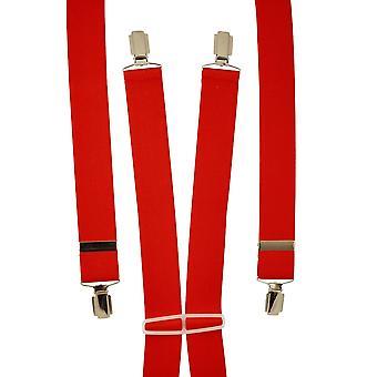Ties Planet Plain Red Men's Trouser Braces - Clip d'argento