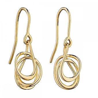 Elements Gold Yellow Gold Plain Wire Wrap Earrings GE2233