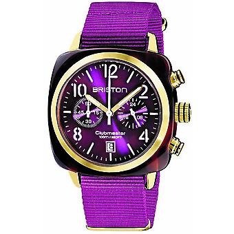 Briston Clubmaster Classic Acetate Chronograph Watch - Cardinal Purple/Yellow Gold