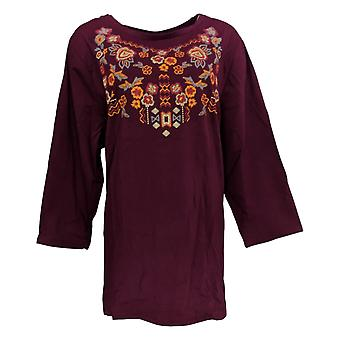 Antthony Women's Plus Top 3X Floral Embellished 3/4 Sleeve Tee Red 677-725